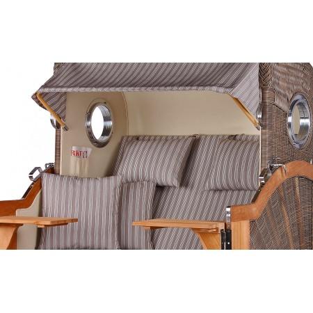 xl strandkorb baltikum aus teak holz mit bullauge geflecht grey bezug 501 strandkorb shop aus. Black Bedroom Furniture Sets. Home Design Ideas