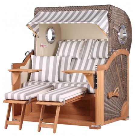 xl strandkorb baltikum aus teak holz mit bullauge geflecht grey bezug 513 strandkorb shop aus. Black Bedroom Furniture Sets. Home Design Ideas