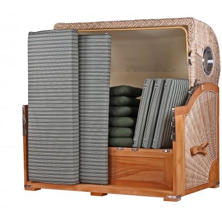xxl strandkorb baltikum aus teak holz mit bullauge geflecht shell bezug 504 strandkorb shop 3. Black Bedroom Furniture Sets. Home Design Ideas