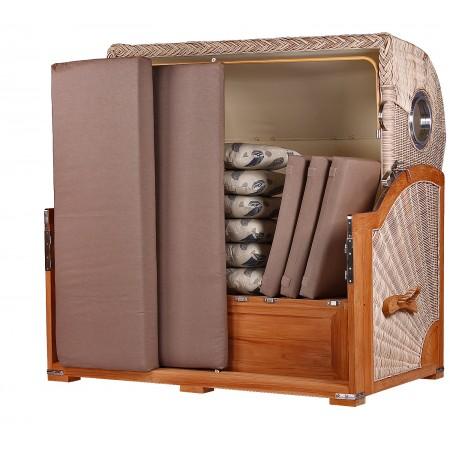 xxl strandkorb baltikum aus teak holz mit bullauge geflecht shell bezug 540 3 sitzer xxl. Black Bedroom Furniture Sets. Home Design Ideas