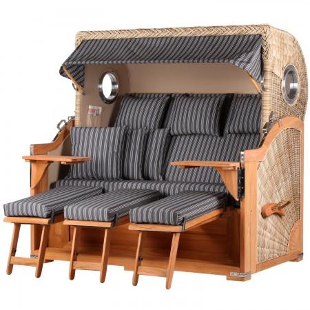 xxl strandkorb baltikum aus teak holz mit bullauge geflecht shell bezug 500 strandkorb shop 3. Black Bedroom Furniture Sets. Home Design Ideas